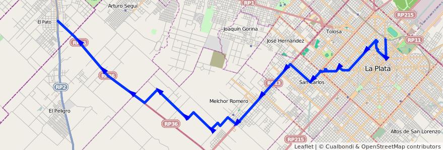 Mapa del recorrido 82 de la línea Oeste en Partido de La Plata.