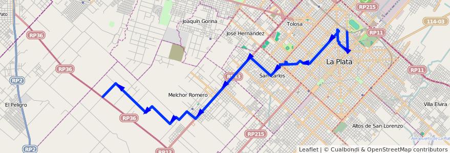 Mapa del recorrido 85 de la línea Oeste en Partido de La Plata.