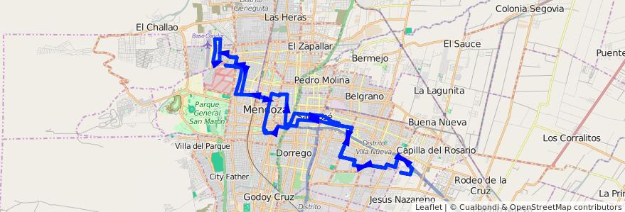 Mapa del recorrido 91 - Bº San Martín - Hospital Notti  de la línea G07 en Mendoza.