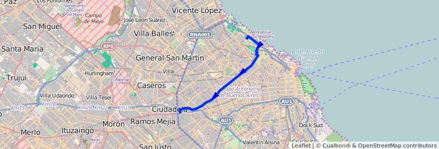 Mapa del recorrido A B C de la línea 34 en Ciudad Autónoma de Buenos Aires.