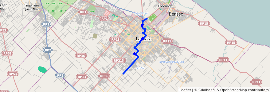 Mapa del recorrido A de la línea 307 en Partido de La Plata.