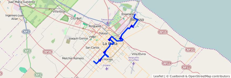 Mapa del recorrido A de la línea 214 en Buenos Aires.