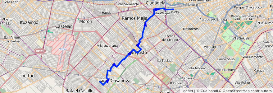 Mapa del recorrido A Liniers-I.Casanova de la línea 174 en Partido de La Matanza.