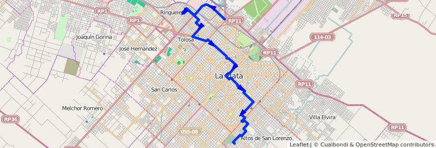 Mapa del recorrido A1 / A2 de la línea 273 en Partido de La Plata.