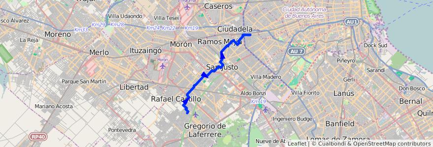 Mapa del recorrido A1 Liniers-Humboldt de la línea 174 en Partido de La Matanza.