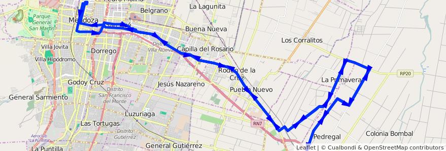 Mapa del recorrido A29 - Pedregal de la línea G02 en Mendoza.