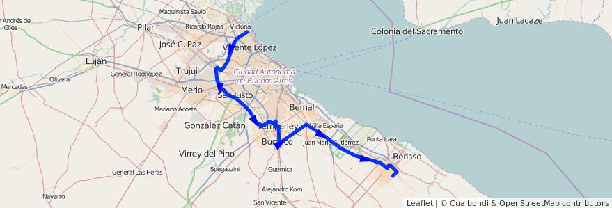 Mapa del recorrido Adrogué de la línea 338 (TALP) en Buenos Aires.