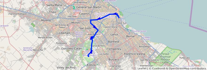 Mapa del recorrido Aeropuerto de Ezeiza de la línea 8 en Argentina.