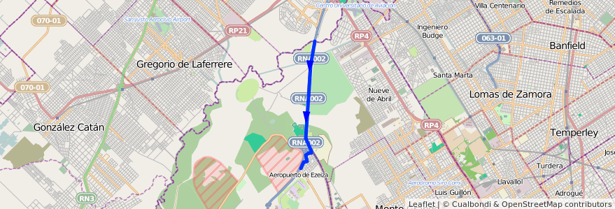 Mapa del recorrido Aeropuerto de la línea 86 en Aeropuerto Internacional Ezeiza.