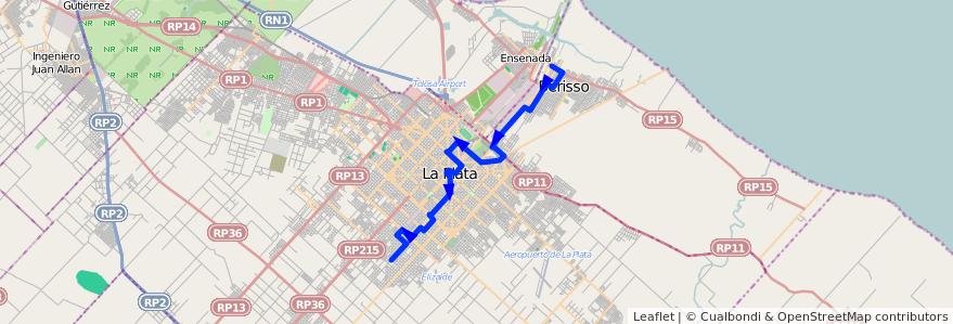 Mapa del recorrido B de la línea 214 en Buenos Aires.