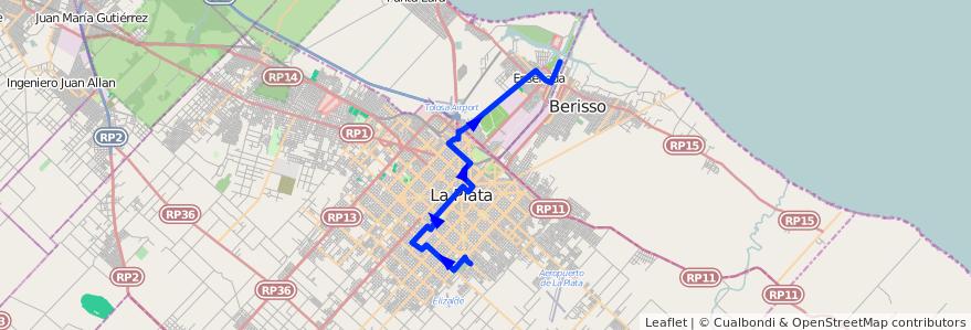 Mapa del recorrido B de la línea 307 en Buenos Aires.