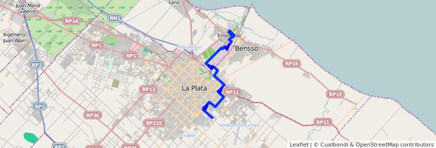 Mapa del recorrido B Monasterio de la línea 275 en Buenos Aires.