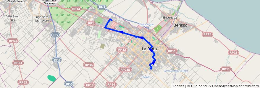 Mapa del recorrido B11 de la línea 273 en Partido de La Plata.