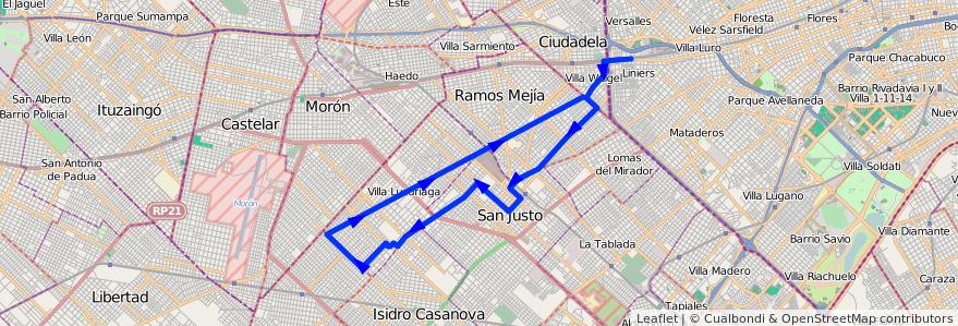 Mapa del recorrido B5 R1 Liniers-SIAM de la línea 174 en Partido de La Matanza.