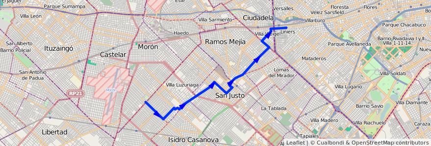 Mapa del recorrido B5 R1 Liniers-SIAM de la línea 174 en Buenos Aires.