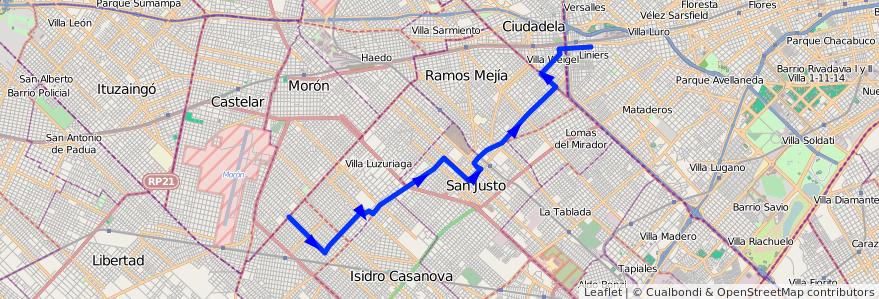 Mapa del recorrido B5 R2 Liniers-SIAM de la línea 174 en Partido de La Matanza.