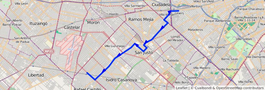 Mapa del recorrido B6 Liniers-R.Castillo de la línea 174 en Partido de La Matanza.