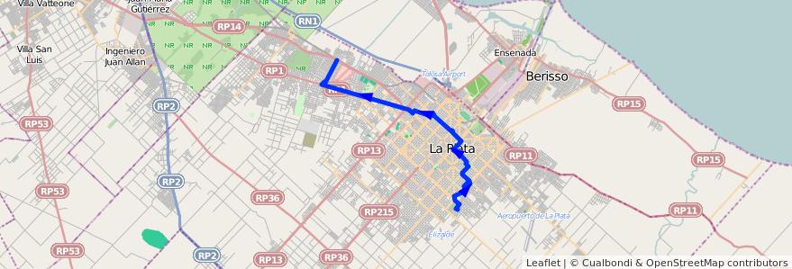 Mapa del recorrido BC de la línea 273 en Partido de La Plata.
