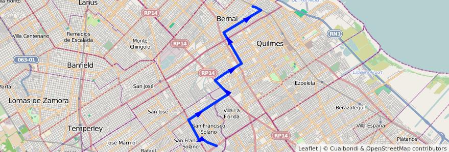 Mapa del recorrido Bernal-S.Fco Solano de la línea 219 en Partido de Quilmes.