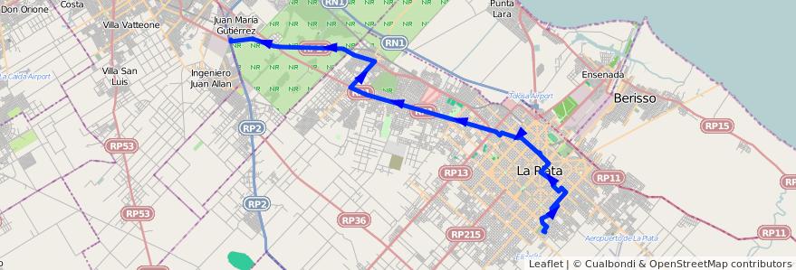 Mapa del recorrido BG de la línea 273 en Buenos Aires.