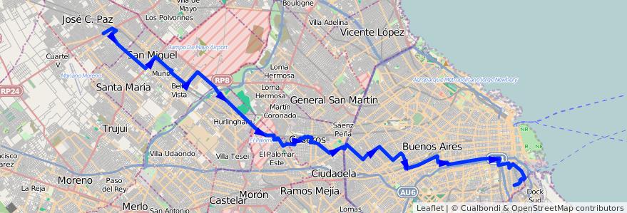 Mapa del recorrido Boca-J.C.Paz de la línea 53 en Argentina.