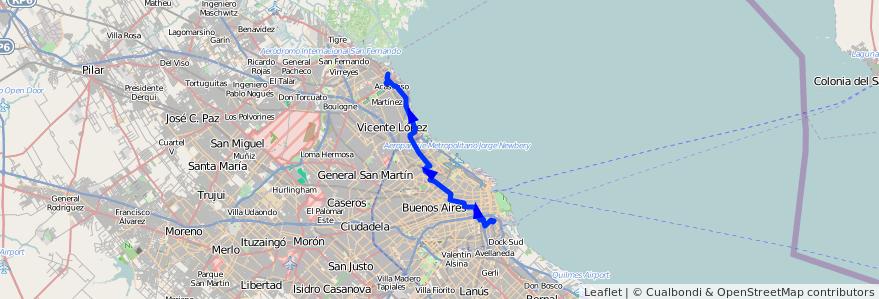 Mapa del recorrido Boca-San Isidro de la línea 168 en Argentina.