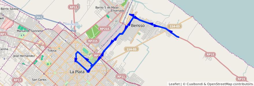 Mapa del recorrido Bx1 de la línea 202 en Buenos Aires.