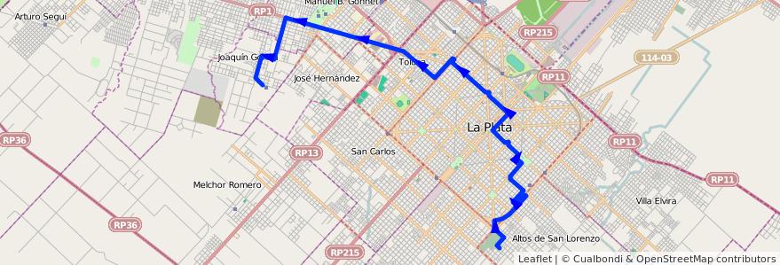 Mapa del recorrido C de la línea 273 en Partido de La Plata.