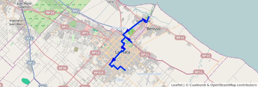 Mapa del recorrido C Facultades de la línea 307 en Buenos Aires.