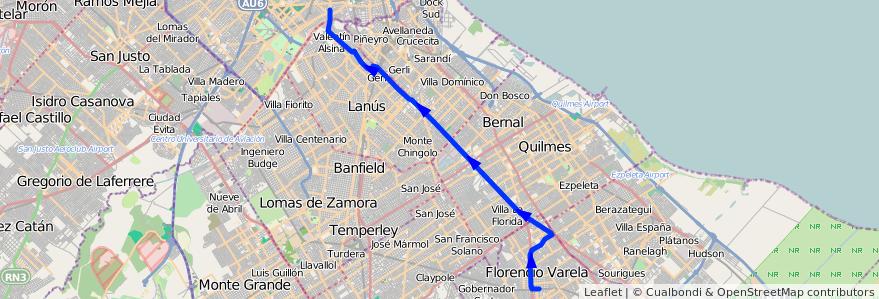 Mapa del recorrido C Pompeya-Varela de la línea 178 en Buenos Aires.