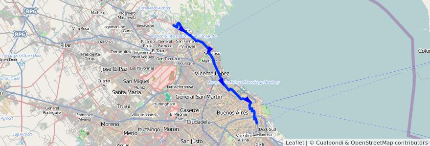 Mapa del recorrido C-T x Av.Libertador de la línea 60 en Argentina.