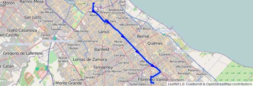 Mapa del recorrido C x Senzabello de la línea 178 en Buenos Aires.
