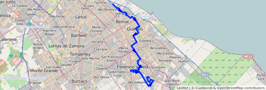 Mapa del recorrido Ramal 9 - Walmart de la línea 324 en Buenos Aires.