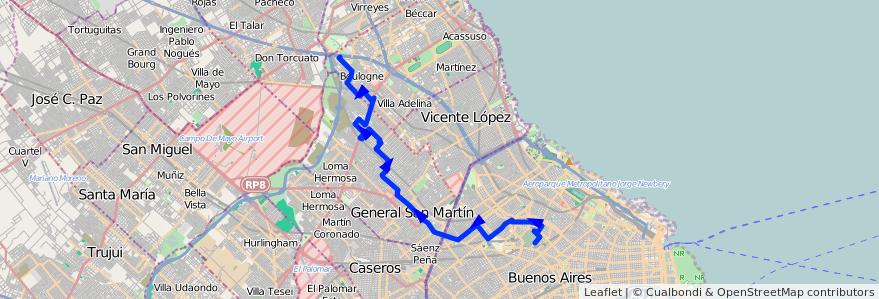 Mapa del recorrido Chacarita-Bº S.Isidro de la línea 87 en Argentina.