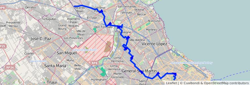 Mapa del recorrido Chacarita-Tigre de la línea 87 en Argentina.