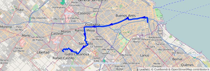 Mapa del recorrido Const.-R.Castillo de la línea 96 en Argentina.
