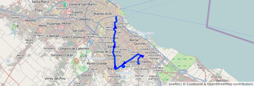 Mapa del recorrido Const.-Varela x 1 de la línea 79 en Buenos Aires.