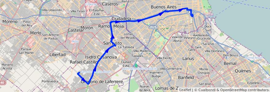 Mapa del recorrido Const.-V.Scasso de la línea 96 en Argentina.