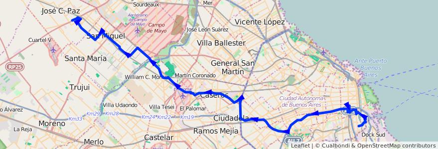 Mapa del recorrido Constitucion-J.C.Paz de la línea 53 en Argentina.