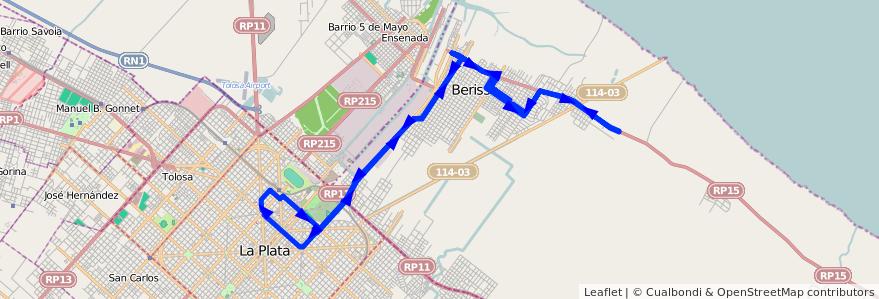 Mapa del recorrido Cx60 de la línea 202 en Buenos Aires.