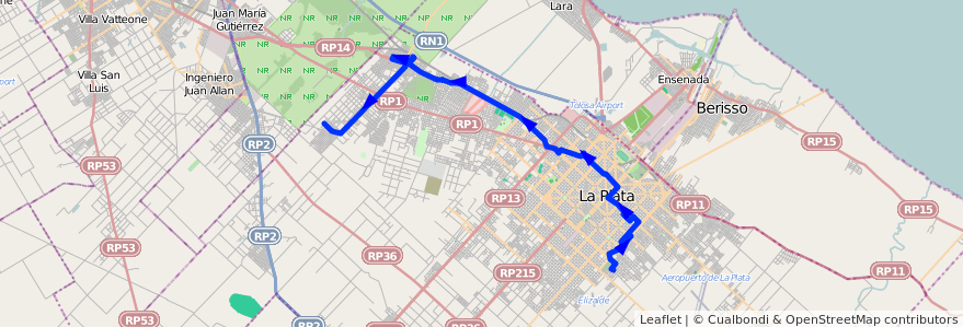 Mapa del recorrido D de la línea 273 en Partido de La Plata.