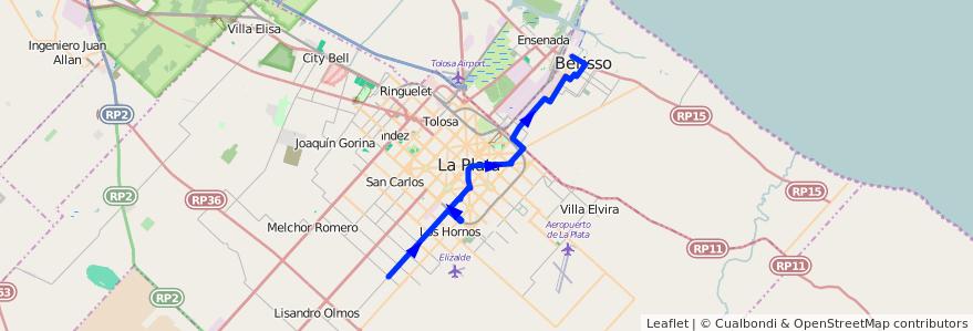 Mapa del recorrido D de la línea 214 en Buenos Aires.