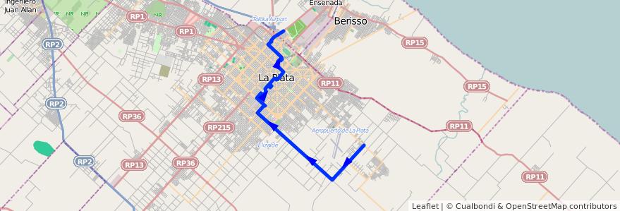 Mapa del recorrido D de la línea 307 en Partido de La Plata.