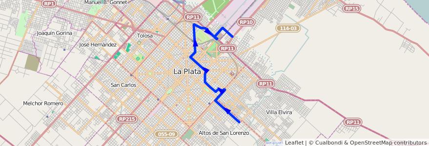 Mapa del recorrido Dique de la línea 275 en Buenos Aires.