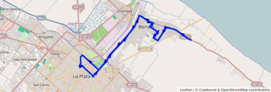 Mapa del recorrido Dx1 de la línea 202 en Buenos Aires.