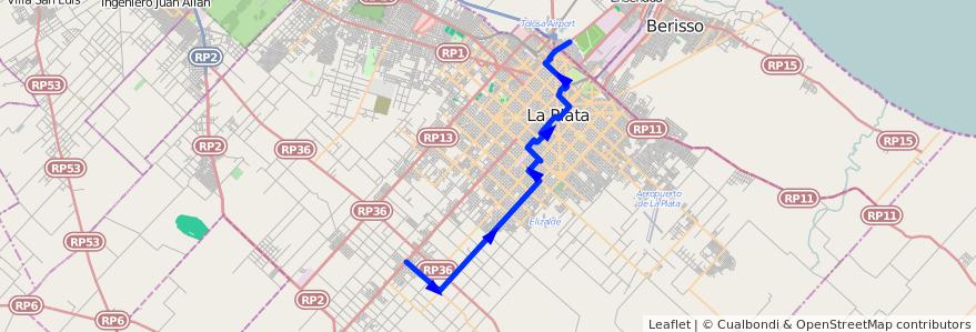 Mapa del recorrido E de la línea 307 en Partido de La Plata.
