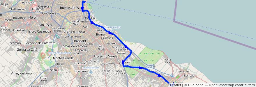 Mapa del recorrido E x Centenario de la línea 129 (plaza) en Buenos Aires.