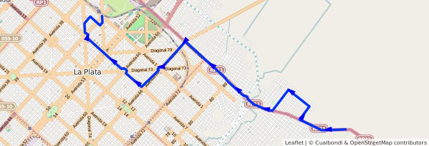 Mapa del recorrido El Carmen de la línea 202 en Partido de La Plata.