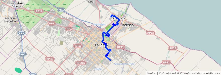 Mapa del recorrido Ensenada de la línea 275 en Buenos Aires.