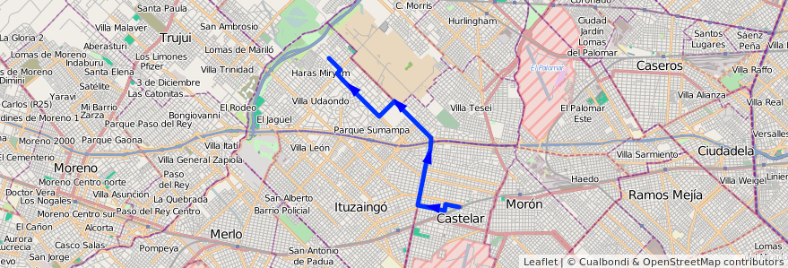 Mapa del recorrido Est.Castelar-Udaondo de la línea 441 en Buenos Aires.